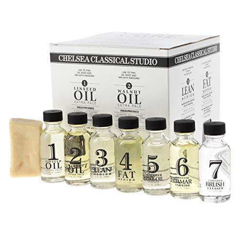 Chelsea Classical Studio Complete Oil Painting Mediums Sampler Set - Sampler Set of Brush Cleaners, Varnishes, Mediums, Linseed Oil, Walnut Oil, and Brush Soap - [Sampler Set]