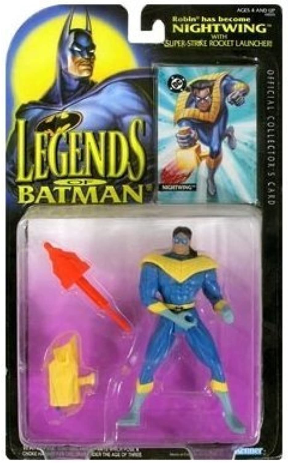 Kenner Year 1994 Legends of Batman 5 Inch Tall Action Figure  NIGHTWING with Super Strike Rocket Launcher and Official Collector's Card by Legends of Batman
