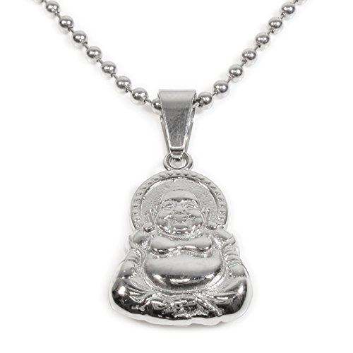 Stainless Steel Big Belly Laughing Buddha Pendant Necklace