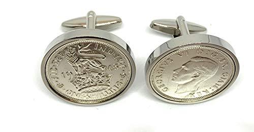 Premium 1945 Silver Shilling cufflinks for a 75th Birthday cufflinks