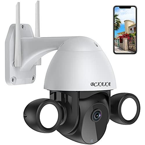 Überwachungskamera Aussen, BCXAXA WLAN Kamera Outdoor 3MP IP Kamera mit 355° Rotieren Bewegungserkennung, 2-Wege Audio, IP66 wasserdichte, Farbe/IR Nachtsicht für IOS/Android & Cloud/SD-Karte
