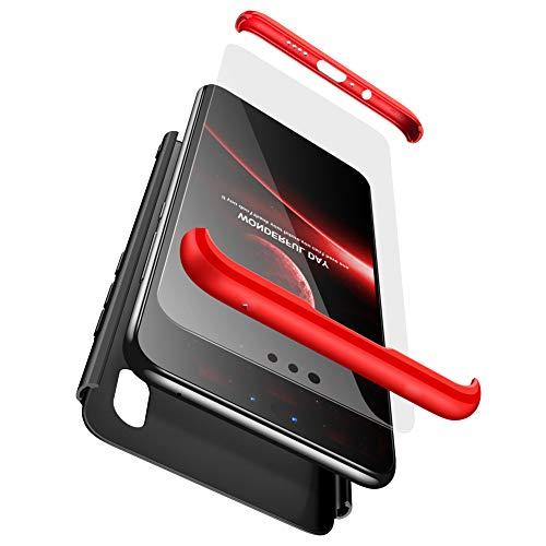 BESTCASESKIN Funda para Xiaomi Mi A2 Lite, Carcasa Móvil de Protección de 360° 3 en 1 Desmontable con HD Protector de Pantalla Caso Case Cover para Xiaomi Mi A2 Lite (Rojo Negro)