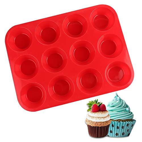 FENRIR Mini Stampo per Muffin,Vassoio Riutilizzabile per Muffin in Silicone con 12 pirottini