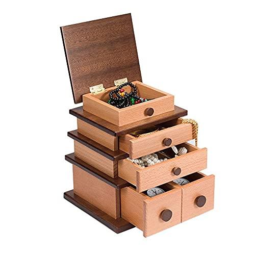 erddcbb Massivholz Schmuckschatulle Organizer Display Aufbewahrungsbox Ohrringe Ringe Uhren Aufbewahrungsbox Halter Retro Geschenkbox