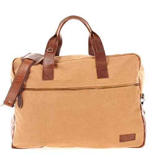 LECONI Weekender kleine Reisetasche Handgepäck für Damen + Herren Fitnesstasche Sporttasche vintage Natur echtes Leder + Canvas 48x35x15cm cognac LE2018-C