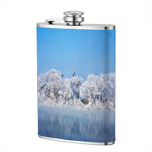 XBYC Beautiful Winter Forest Lake Blue Sky Frasco para licor y embudo Frasco de acero inoxidable...