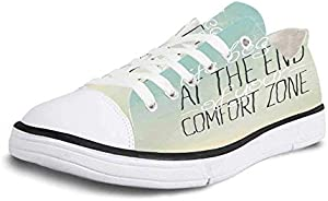 Canvas Sneaker Low Top Shoes,Letters,Whole Alphabet with Colorful Gerbera Flowers Blossoming on Letters Fresh Garden Decorative