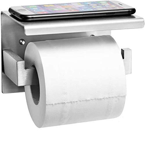 Auxmir Toilettenpapierhalter mit Ablage ohne Bohren, Klopapierhalter Edelstahl Papierhalter Selbstklebend oder Wandmontage für Badezimmer Toilette Küche, Rostfrei, Silber