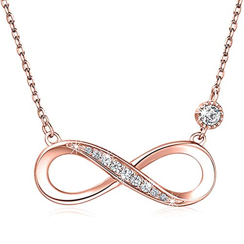 925 silver necklace female European and American fashion temperament personality diamond 8 word love big clavicle chain white gold, rose gold, yellow gold 21cm-50cm