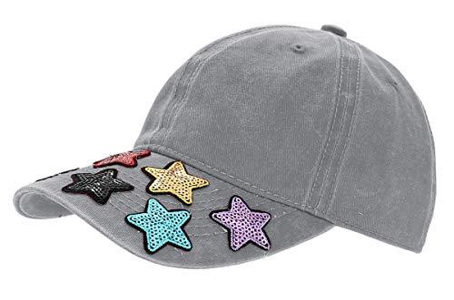 dy_mode Damen Kappe Basecap Baseball Cap Mütze Schirmmütze mit Pailletten - K015 (K015-Hellgrau)