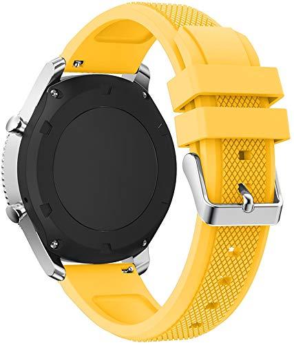 Gransho Armband 22mm, Silikon Sportarmband Uhr Band Strap Ersatzarmband Uhrenarmband (22mm, Gelb)