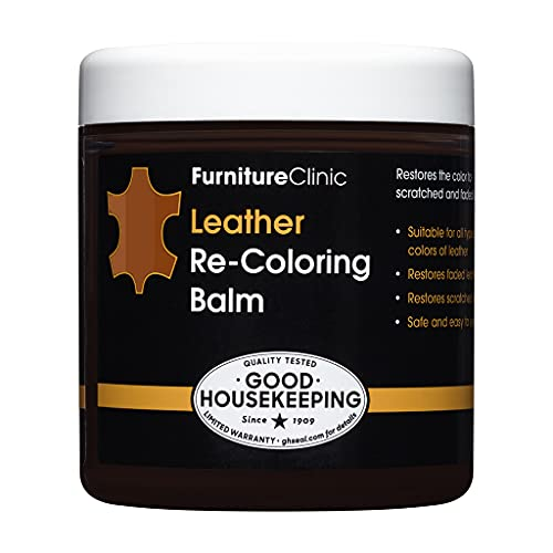 FurnitureClinic Leather Re-Coloring Balm | Non Toxic Leather Color Restorer | for Faded & Scratched Leather Car Seats, Couches, Boots (Medium Brown), 8.5 fl oz