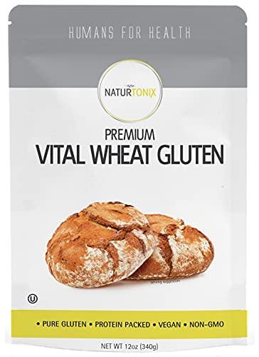 Naturtonix Vital Wheat Gluten, 12 oz Resealable Pouch, Non GMO, OU Kosher, Vegan and Keto Friendly, High in Protein