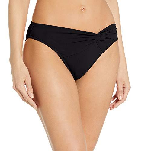 Jets by Jessika Allen Women's Jetsets Asymmetrical Twist Front Bikini Bottom, Black, 10