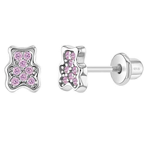 In Season Jewelry Plata Fina 925 Pendientes de Cierre de Rosca en forma de Oso de Peluche Rosa con Circonita para niñas pequeñas, bonitos Pendientes de oso de peluche