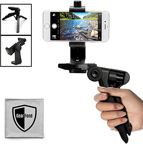 GearFend Heavy Duty Pistol Grip Stabilizer, Tripod Table Stand with Universal Rotating Smartphone Tripod Mount for All iPhones, Samsung Phones, Most Mobile Phones Plus Microfiber Cloth