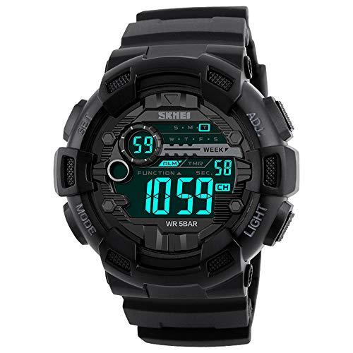 Skmei 1243 Relógio Eletrônico Digital Moda Casual Esportes Relógio De Pulso Masculino Dual Time Data Semana Contagem Regressiva Cronômetro Alarme 5Atm À Prova D 'Água Com Luz De Fundo