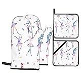 Ofenhandschuhe und Topflappen Sets mit 4,Ballett Mädchen tanzen Ballerinas,Polyester-Grillhandschuhen mit gesteppten,Liner-beständigen heißen Pads zum Kochen,Backen,Grillen