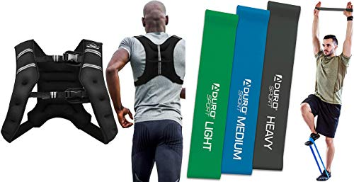 Aduro Sport Weighted Vest Workout Equipment, 20lbs Body Weight Vest for Men, Women, Kids Bundle with Resistance Bands Set Exercise Workout Bands Loops 3 Resistance Levels Pack Set