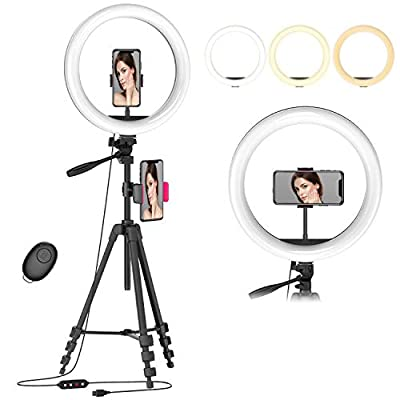 "12.6"" Selfie Ring Light with 54"" Tripod Stand & Flexible Phone Holder for Live Stream/Makeup/Photography,Upgraded Dimmable LED Beauty Camera Ringlight for YouTube Video Compatible with iPhone/Android from Erligpowht"