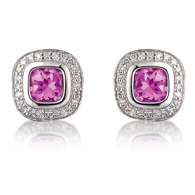 Bezel Set Coloured Asscher Cut Stone with Round Brilliant Diamonds Earrings in 9ct White Gold, 3.20ct F-VS