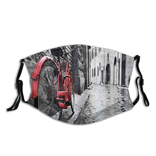 MUYIXUAN Face Cover Bicycle Classic Bike On Cobblestone Street In Italian Town Leisure Charm Artistic Photo Balaclava Reusable Anti-Dust Mouth Bandanas Running Neck Gaiter with 2 Filters for Men Women