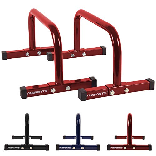 MSPORTS Low Fitness Parallettes Minibarren Professional LxBxH: 60x35x29 cm| Push-Up Bars Liegestützgriffe (Rot)