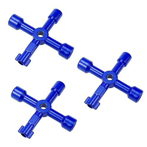 Coairrwy Paquete de 3 Llaves Multifuncionales de 4 VíAs Caja de Medidor de Agua de Gas EléCtrico Llave de Apertura de Armario Llave de Utilidades (Azul)