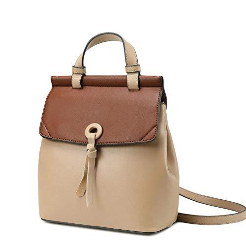 Women's backpack cowhide leather backpack women's travel shoulder bag large capacity multi-function backpack-Beige_China_22*11 * 26CM