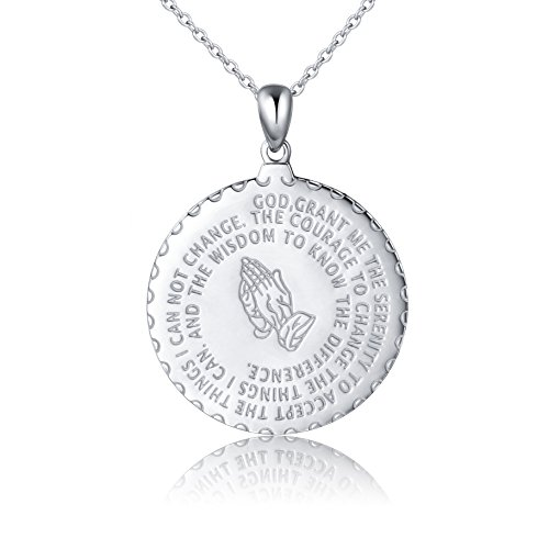 Bible Verse Prayer Necklace Christian Jewelry Sterling Silver Praying Hands Baptism Inspirational Medallion Pendant