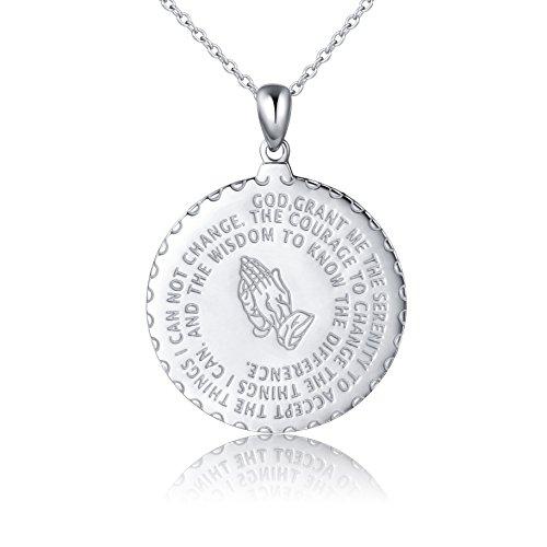 Bible Verse Prayer Necklace Christian Jewelry Sterling Silver Praying Hands Baptism Inspirational Medallion Pendant