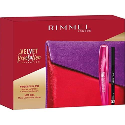 Rimmel London Confezione Regalo Velvet Revolution Collection, Pochette con Mascara Volume e Lunghezza WonderFully Real e Matita Occhi Soft Kohl