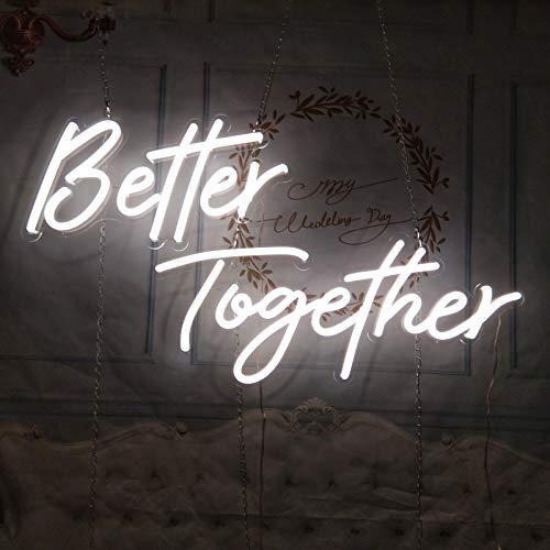 QWEASDF LED Neon Sign Licht, Shaped-Dekor-Licht, Kunst-Wand-dekorative Leuchten, Party Dekorieren für Zimmer Weihnachten Hochzeit Dekoration,Better Together