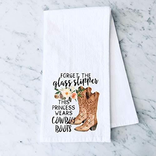 Forget the Glass Slipper Cowboy Boots Farm Flour Sack Cotton Tea Towel Kitchen Linen