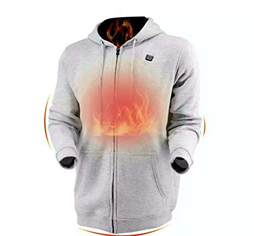 Dr.Qiiwi Men's & Women Outdoor Heated Hoodie Soft Lightweight Full-Zip Jacket