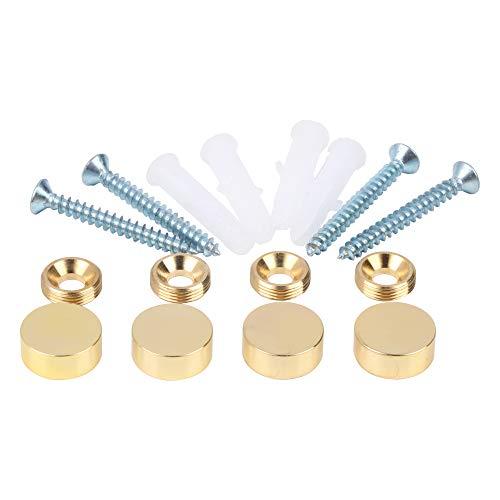 Spiegelschrauben, Messingkappe, dekorative Spiegelnägel, poliertes Gold, 4 Stück