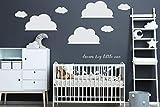 Wandtattoo Wolkenaufkleber 3x Groe Vinyl Wolke fr IKEA RiBBA MOSSLANDA LACK Wandregal (3x 20cm(H) x30cm(B) Weiss)