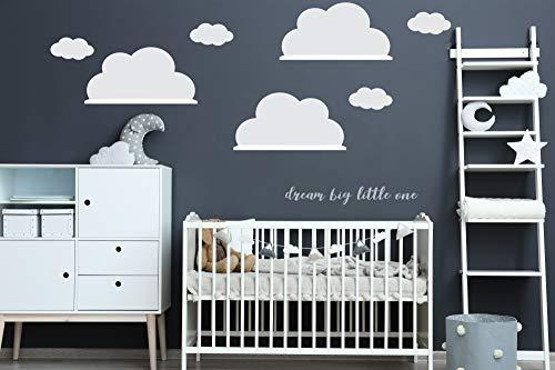 Wandtattoo Wolkenaufkleber 3x Große Vinyl Wolke für IKEA RiBBA MOSSLANDA LACK Wandregal (3x 20cm(H) x30cm(B) Weiss)