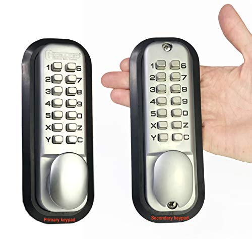 All-Weather Double Keypad Mechanical Keyless Latch Door Lock (Satin Chrome) by Code-a-Key