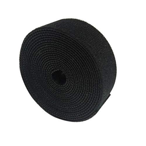 cottonlilac Correa Organizador de cables de nailon plástico Enrollador de cables Sujetadores de cables Cinta de cables Sellos de correa Gestión de escritorio de oficina - Negro - 2 cm x 5 m