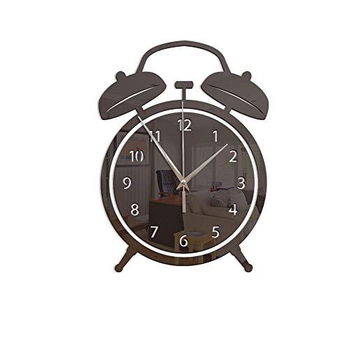 CZHJG Wecker Wanduhr Spiegel Acryl Wanduhr Schlafzimmer Wohnzimmer Dekoration Wandaufkleber Uhr Schwarz