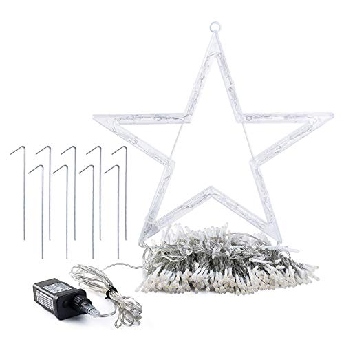 GIGALUMI Christmas Decorations Lights 344 LED Star Lights 8 Lighting Modes Outdoor Tree Decorations for Christmas Yard, Garden, New Year, Holiday, Wedding, Party(Warm White)