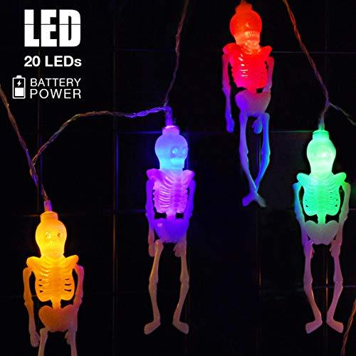 HOTSAN Luces de Esqueleto Luces de Cadena de Halloween - 10 pies 20 LED Esqueletos Luces de Halloween Luces de Cadena de decoración, Luces de Halloween para Fiestas, Patios, Interiores y Exteriores