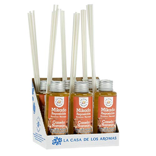 La Casa de los Aromas, Set de 6x100ml Ambientadores Mikado Canela Naranja para Reposición con Varillas, Difusor Líquido de Aroma Canela Naranja, Perfume Duradero para el Hogar, Baño, Casa
