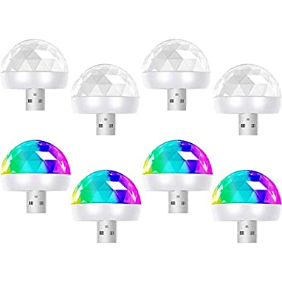 8 Pieces USB Mini Disco Light 1.58 Inch/ 4 cm Sound Activated Mini Disco Ball Light LED Car USB Atmosphere Light White Party Light for Kid's Birthday Parties KTV Club DJ Stage Atmosphere Christmas