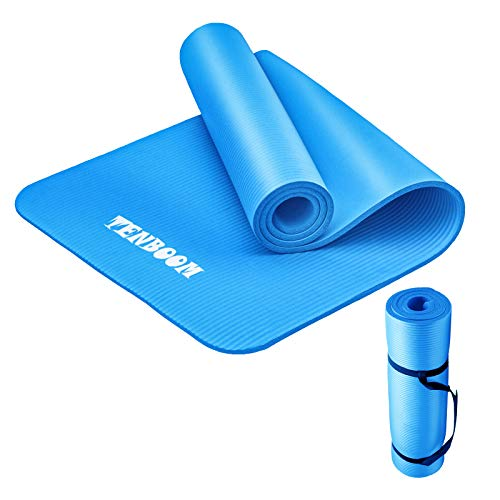 Tenboom Thick Yoga Mats for Women and Man, 1/2 Inch Thickness No Slip Exercises Mat Anti-Tear Fitness Pilates Workout Mat for Home Gym with Carry Strap