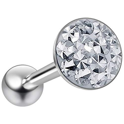 14g Tongue Ring Flat Head Glittery Ball Sparkling Crystal Piercing Jewelry for Women Sparkly Top CZ