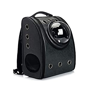 GINYICY Portable Travel Pet Carrier Backpack,Space Capsule Bubble Design,Waterproof Handbag Backpack for Cat and Small Dog,Airline Approved Pet Backpack Carrier (Black)