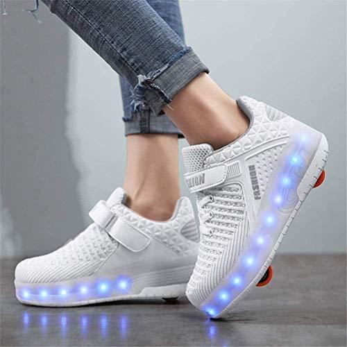 QWZXAS Schuhe Mit Rollen Led Schuhe LED Rollschuh Schuhe Jungen Mädchen Outdoor Sport Trainer Gymnastik Fitness Turnschuhe,White Double-36