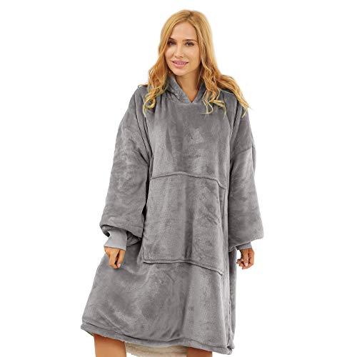 Oversized Wearable Blanket for Women and Men, Topblan Super Warm Microfiber & Sherpa Hoodie Blanket, Thick Flannel Blanket Sweatshirt with...